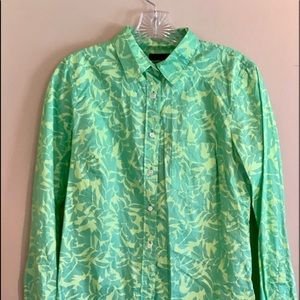 J Crew Boy Button Up Leaves Flowers Shirt Green 4